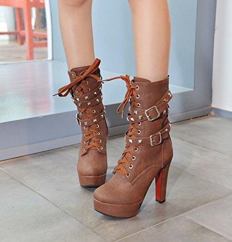 Marrom Altos Rodada Com Saltos Senhoras Planalto Botas Rebites Sapatos Mee Sx4f00