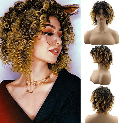 DQANIU  Frauen Perücke, kurze braune Kunsthaar kleine Welle lockige - Braunes Lockiges Haar Kostüm