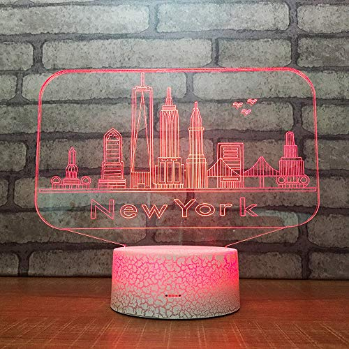 3D Acryl Nachtlicht Weiß Crack Base Bunte Farbe LED Licht 3D Vision Kreative Stadt New York Style, Touch and Remote