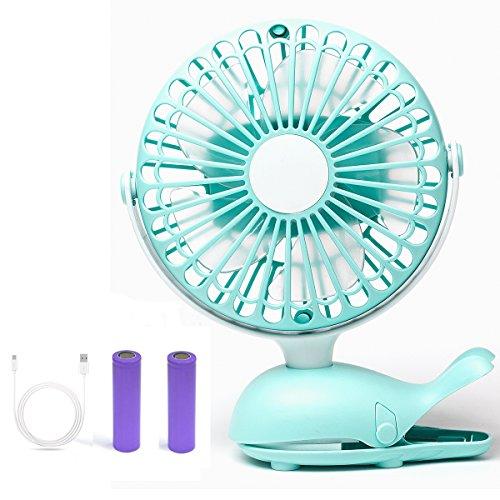 Mini Ventilateur à Clipper, Ventilateur USB de bureau avec Batterie Rechargeable, Rotation à 360° | puissant et silencieux | pour Poussette, Voiture, Camping, etc (Vert)