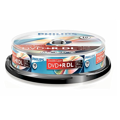 dvd 8gb Philips DVD+R Rohlinge (8.5 GB Data/ 240 Minuten Video, 8x High Speed Aufnahme, 10er Spindel, double layer DL)