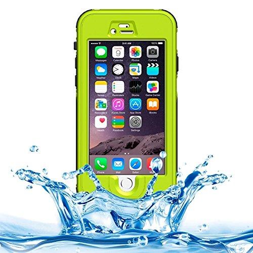 Wkae Case Cover abs material wasserdichte schutzhülle mit button &fingerabdruck freischalten und touchscreen - funktion für das iphone 6 &65 ( Color : Dark Blue ) grün