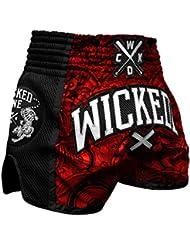 "'Wicked One Muay Thai Short ""Rude–Rouge/Noir–Muay Thai Boxe Thaï Traditionnellement Short Box Pantalon Thai"