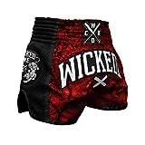 'Wicked One Muay Thai Short'Rude–Rouge/Noir–Muay Thai Boxe Thaï Traditionnellement Short Box Pantalon Thai XL Rot