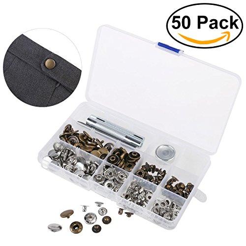OUNONA 50 set Metall Druckknöpfe 15mm Druckknopf Set 4tlg Werkzeug Locheisen mit Aufbewahrungsbox (Farbe Kunststoff-lagerbehälter)