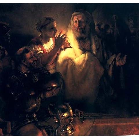 Pintura al oleo en lienzo extendido - 28 x 27 inches / 71 x 69 CM - Rembrandt Van Rijn - Le Reniement De St Pierre, amsterdam