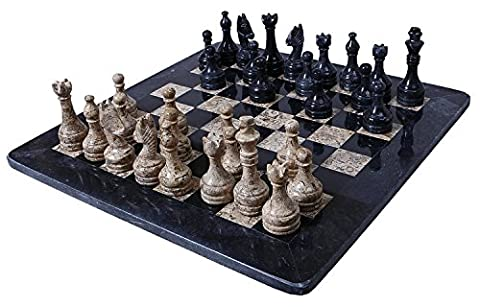 16 Inches Handmade Black and Coral Marble Full Chess Game Original Marble Chess Set With Free Velvet Storage Box - 16 Inches Handmade Black and Coral Marble Jeu d'échecs complet Jeu d'échecs en marbre original avec Free Velvet Storage Box