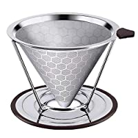 Coffee Filter with Stand Honeycombed Stainless Steel Reusable Removable Coffee Filter Gift for Coffee Lover