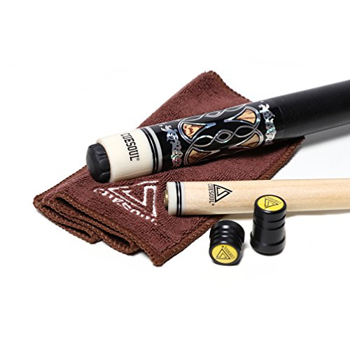 Cuesoul 2-Piece 57 Inch Pool Cue Billardqueues 19-21oz Billiard cue with 13mm Cue Tips with Cleaning Towel & Joint Protector£¨C.QG.CSPC027£© (Joint Scorpion)