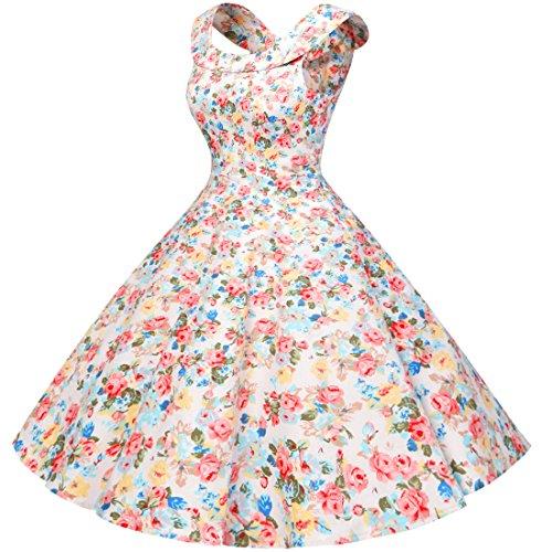 Bbonlinedress modèle 7 Vintage rétro Audrey Hepburn robe de soirée cocktail années 50 col en U Pink Flower