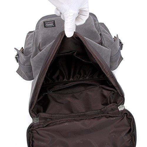 KAUKKO Herren Segeltuch Jahrgang Laptoptasche Reise Rucksack mit 27×21×48 cm Khaki Grau-1037