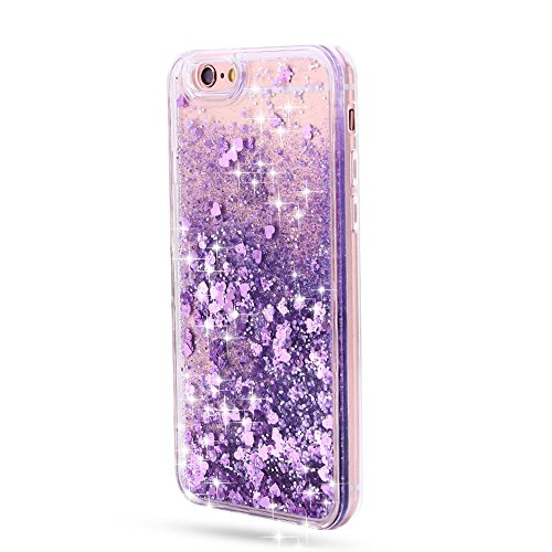 Sunroyal iPhone 6 Plus / iPhone 6S Plus Liquid Hülle weiß/lila mit Herzen, Quicksand Dynamic Dynamic Flüssiges Case, Glitter Hülle Cool 3D Fließen Flüssig Bling Schwimmend Treibsand Stern Luxus Shiny  Pattern 07