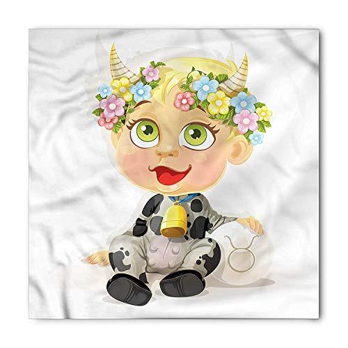 Soefipok Tierkreis-Stier-Bandana, glückliche Baby-Hörner, Unisexkopf und Hals-Bindungs-Stirnband-Kopf-Verpackung