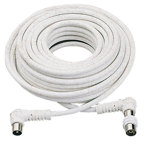 Gefotech - Cable alargador de antena de TV (20 m), color blanco