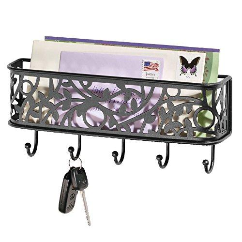 Mdesign elegante portachiavi da parete ideale per ingresso – portachiavi con vaschetta portacorrispondenza da appendere al muro – nero opaco