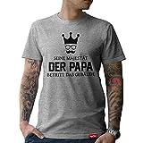 #PAPA: Original HARIZ® Collection T-Shirt // 36 Designs wählbar // Grau, S-XXL // Inkl. Urkunde, Ideales Geschenk zum Vatertag Weihnachten oder Geburtstag #Papa18: Seine Majestät der Papa S