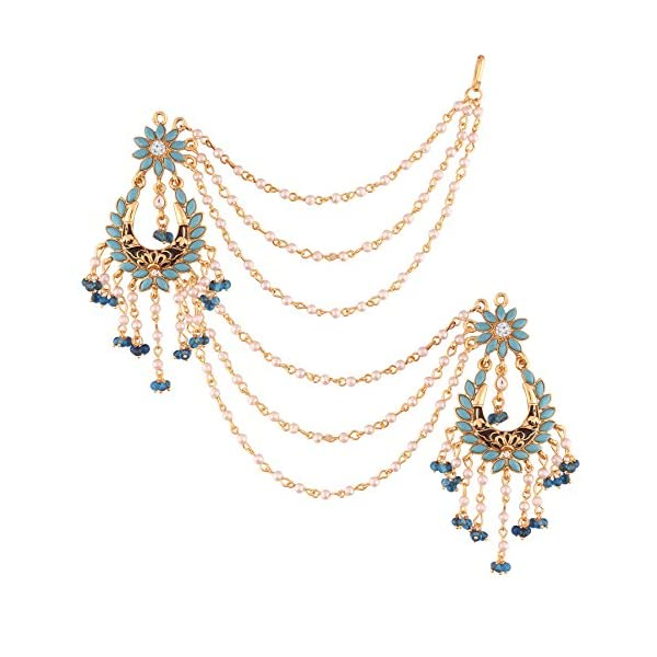 I Jewels Traditional Gold Plated Enamel/Meena Work Earrings Glided With Faux Stones & Pearls With Hair Chain For Women…