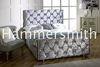 Diamond Crushed Velvet Upholstered Bed Frame 3ft 4'6 Double 5ft King Size - cheap UK light store.
