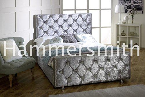 Hammersmith Diamant Crushed Polsterbett Samt Rahmen 3Ft 4'6Double 5ft King Size. Alle Größen, Grau (Mid Grey), 140 cm