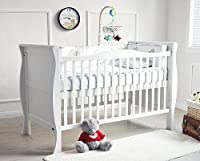 Mcc® Solid Wooden Baby Cot Bed Savannah City Sleigh Cotbed Toddler Bed & Premier Water Repellent Mattress - Made in England (Mattress Size: 140 * 70cm)