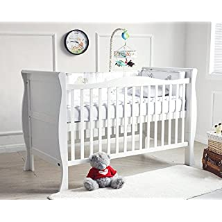 MCC® Solid Wooden Baby Cot Bed Savannah City Sleigh Cotbed Toddler Bed & Premier Water Repellent Mattress - Made in England