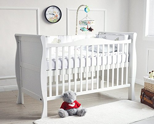MCC Solid Wooden Baby Cot bed Savannah City Sleigh Cotbed Toddler Bed & Premier Water repellent Mattress Made in England 158x88cm