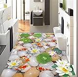 Chan-Mei 3D-Bodenbeläge Custom Wall Sticker 3D-Bad 3D Lotus Karpfen Kieselsteine Malerei Fototapete Für Wände 3D Hintergrundbild Tapete Fresko Wandmalerei 400cmX300cm