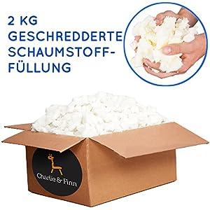 Charlie & Finn 2 kg Schaumstoffflocken Füllmaterial - Ideal zum Füllen von Sitzsäcken, Kissen, Hunde & Katzen Betten und Plüschtiere - Schaumstoff Flocken für Bean Bags Kissenfüllung & Teddyfüllung