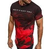 VEMOW Sommer Mode Persönlichkeit Camouflage Männer Täglich Cool Casual Schlank Kurzarm-Shirt Top Bluse Pullover(Rot, EU-60/CN-3XL)