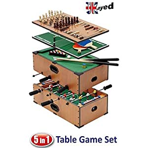 UKayed ® 5 in 1 Deluxe Games Table - Pool - Football - Tennis - Chess - Backgamman -