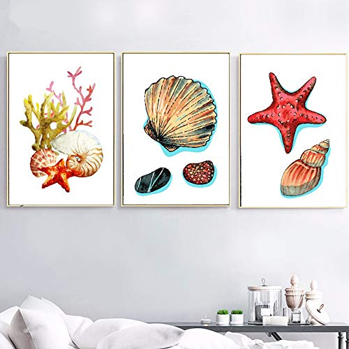 XIXISA1 Sea Shell Starfish Nordic Poster Wall Art Print Canvas Painting Pop Art Wall Pictures For Living Room Home Decoration 50 * 70cm No Frame