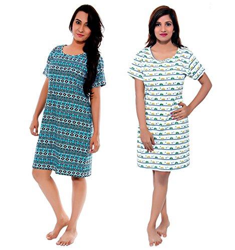 Sofie & Sam Pack de 2 camisetas larga combinadas de algodón orgánico para mujer, Talla: Grande - Car & Tribal