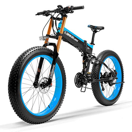 DITI Bicicletas eléctricas T750Plus 27 Velocidades 1000W / 500W para Hombre Pedal Plegable Ayuda Bicicleta eléctrica 26 * 4.0 Bicicleta Gorda 5 Pas Freno de Disco hidráulico 48V 10Ah