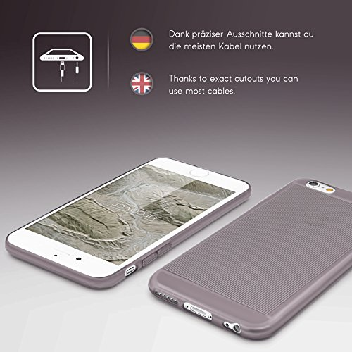 Urcover® Apple iPhone 6 / 6s Hülle Hell Blau / Transparent [ Flexibel ] Handy Schutz-Hülle TPU Cover Schale Silikon-hülle Back-Case Smartphone Zubehör Tasche Schwarz / Transparent