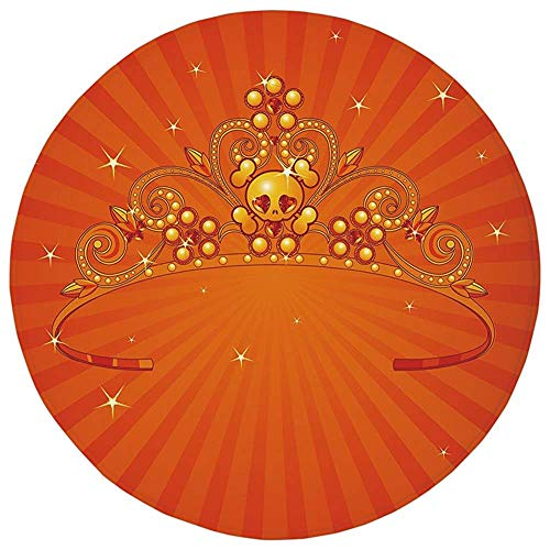 Pet Mat Round Rug Mat Carpet,Queen,Fancy Halloween Princess Crown with Little Skull Daisies on Radial Orange Backdrop Stars Decorative,Orange,Flannel Microfiber Non-slip Soft Absorbent,for Kitchen Floor Bathr