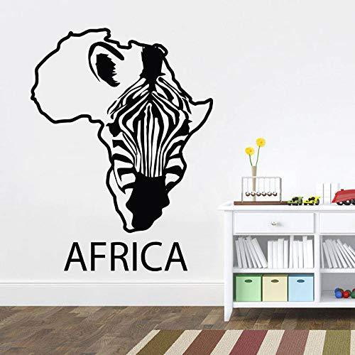 xinyouzhihi Vinile Wall Art Sticker per Salone Zebra Africa Mappa Decalcomania Rimovibile Camera da Letto Soggiorno Salone Decorativo per la casa 57x75 cm
