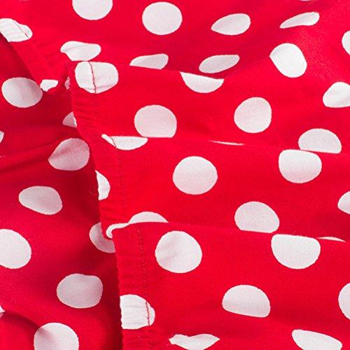 VKStar®Abito Retrò Chic Stile Halter Vintage 1950 Audrey Hepburn Vestito da Cocktail Femminile Rockabilly Swing Abito Classico Anni 50 Rot