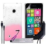 Yousave Accessories Coque Nokia Lumia 530 Etui Rose Clair / Clair Dur Goutte De Pluie Housse Avec Mini Stylet, Chargeur De Voiture Et Chargement Micro USB