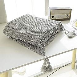 MYLUNE HOME 100% Coton Couverture tricot mérinos élégante de luxe pour regarder la télévision ou la selle sur chaise, canapé et lit,Double face Couvertures 130*160cm (gray)
