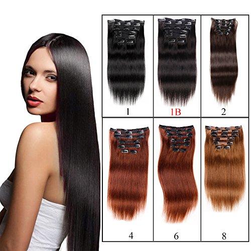 viviabella Double Noir naturel Extensions capillaires à clipser pour extensions de cheveux tête complète cheveux humains Jet Noir Droite 7 70 g-160g 20,3 cm -28 \\