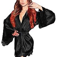 PLOT Damen Nachthemd, Frau Seide Kimono Babydoll Kleid Spitze Sexy Negligee Damen Offener Pyjama Nachtwäsche Lingerie Erotik mit Gürtel & Thongs Höschen