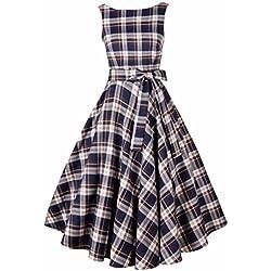 Delgado grande de la vendimia del oscilacion Vestido de coctel sin mangas de los vestidos de algodon de las mujeres falda de tela escocesa