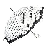 Clayre & Eef W4PLUS0001N 4PLUS0001N Romantischer Regenschirm Weiß mit Herzen ca. Ø 70 x 80 cm