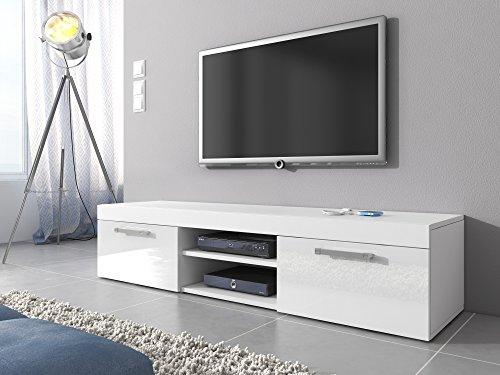 Mobile tv mambo con supporto, 160 cm, colore: bianco opaco/bianco lucido