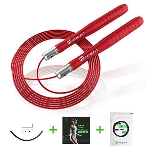 GUARD & REVIVAL TREAT Speed Rope Springseil, Profi Stahlkugellager, Für Fitness, Ausdauer und Abnehmen (Rot)