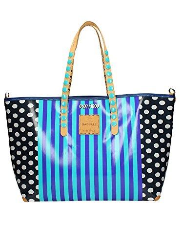 GABS Frau Handtasche GABSILLE BLATT P0049-BLUE LINES XL Righe Blu