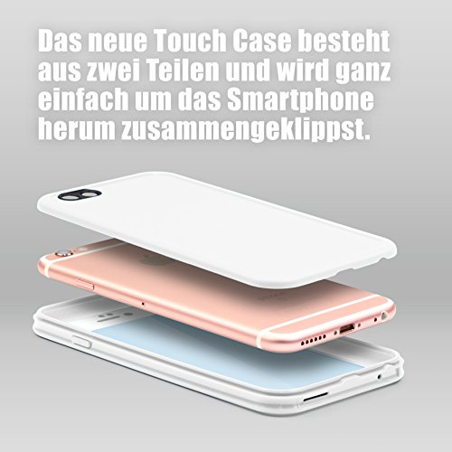 URCOVER Custodia Full Body Apple iPhone 6 Plus / 6S Plus | Touch Cover Integrale Fronte Retro Transparente | Back Case Rigida + Bumper Antishock | 360 Grad Armor in Rosa / Bianco Bianco / Bianco