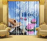 H&M Gardinen Vorhang Wasser Lotus EIN Warmer Schatten Tuch UV-Schlafzimmer-Haus Dekoration Fenstervorhänge 3D-Druck fertig, Wide 2.20x high 1.80