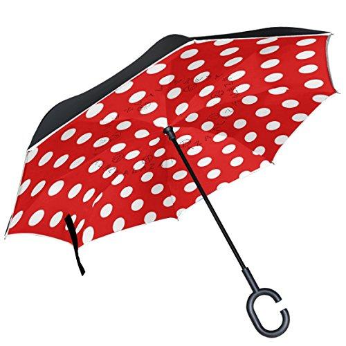 ALAZA Polka Dots Muster schwarz weiß seitenverkehrt Regenschirm Double Layer Winddichte Rückseite Faltbarer Regenschirm für Auto mit C-förmigem Henkel Medium rot -