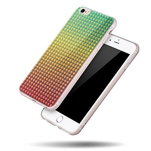 Forepin® Gradient Farbe Glitzern Handyhülle für iPhone 6/6S 4.7 Zoll, Transparent Kirstall Case Cover Utral Slim TPU Silikon Schutzhülle Tasche Grün, Gelb, Rot
